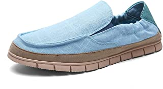 ZiWen Lu Men's Canvas Comfort Casual Loafers Walking Sneakers Breathable Boat Shoes Elastic Bands Flat Dress Slip On (Color : Blue, Size : 6 UK)