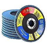 S&R 10 Disques à Lamelles 125 Abrasifs pour Acier Inox Bois Métal Grain 80. Disque de ponçage à compartiments pour Meuleuse.