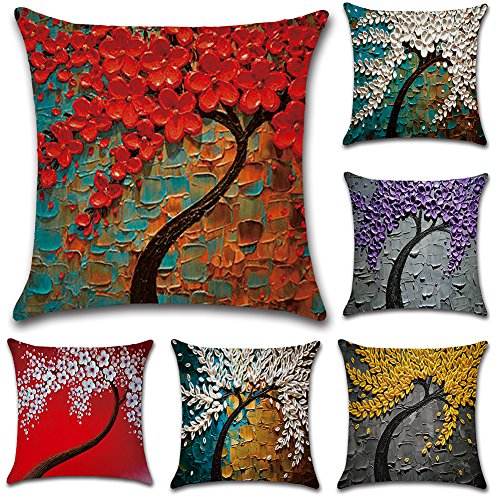 JOTOM Oil Painting Large Tree and Flower Cushion Cover Sofa Car Pillow Case Cover for Home Bedroom Decor 45 x 45cm, Set of 6 (Tree)