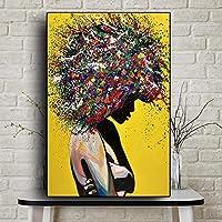 ウォールアート抽象キャンバス絵画ウォールアートプリントポスターリビングルームの装飾装飾絵画壁の家の装飾-50x70cmフレームなし