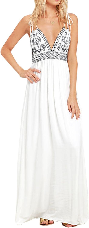 Bmjl Women's Embroidered Slip Backless V Neck Off The Shoulder Flowy Long Floral Maxi Dress
