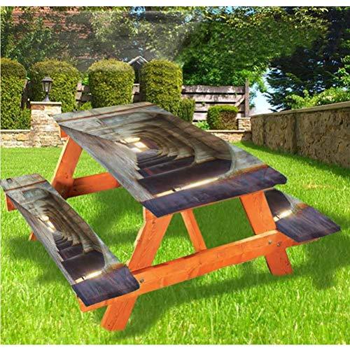Mantel de mesa y banco de picnic urbano, mantel de hormigón rústico con borde elástico, 28 x 72 pulgadas, juego de 3 piezas para camping, comedor, exterior, parque, patio