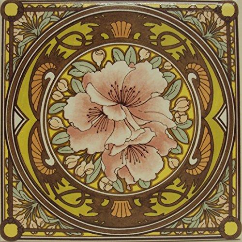 Morning Awakening Floral Tile Mucha Damen Blumen Fliesen Deko Hand Made in der UK