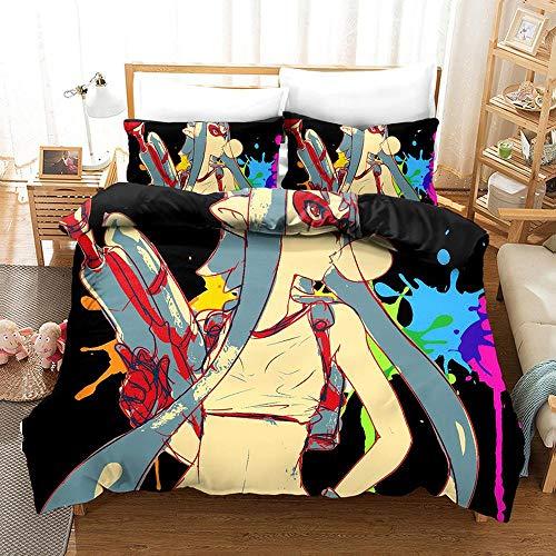 bed linings Bettwäsche-Set 3D Splatoon Druck Weihnachten Kind Erwachsene Bettwäsche Aus 100% Polyester Bettbezug 3 Stück Mit 2 Kissen- I-AU Queen210x210cm