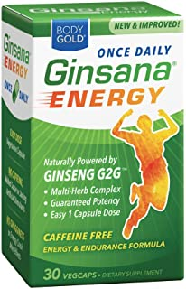 BodyGold Ginsana Energy, Once Daily | Panax Ginseng Extract w/Herbal Blend for Focus & Endurance | Caffeine Free | 30 VegCaps/Box | Pack of 3
