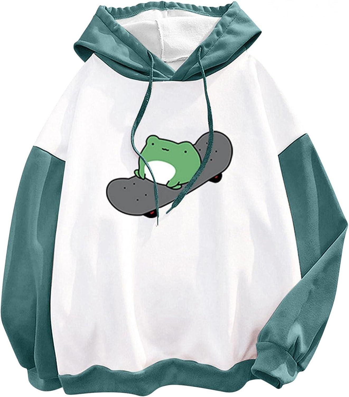 Hoodies for Women,Cute Sweatshirt for Teen Girls Long Sleeve Kawaii Emo Frog Hoodie Loose Shirt Tops Blouse