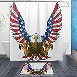 ALAZA Duschvorhang, Motiv: Adler mit Talons & amerikanischer Flagge, wasserdicht, Polyester, Rutschfest, 60 x 45 cm