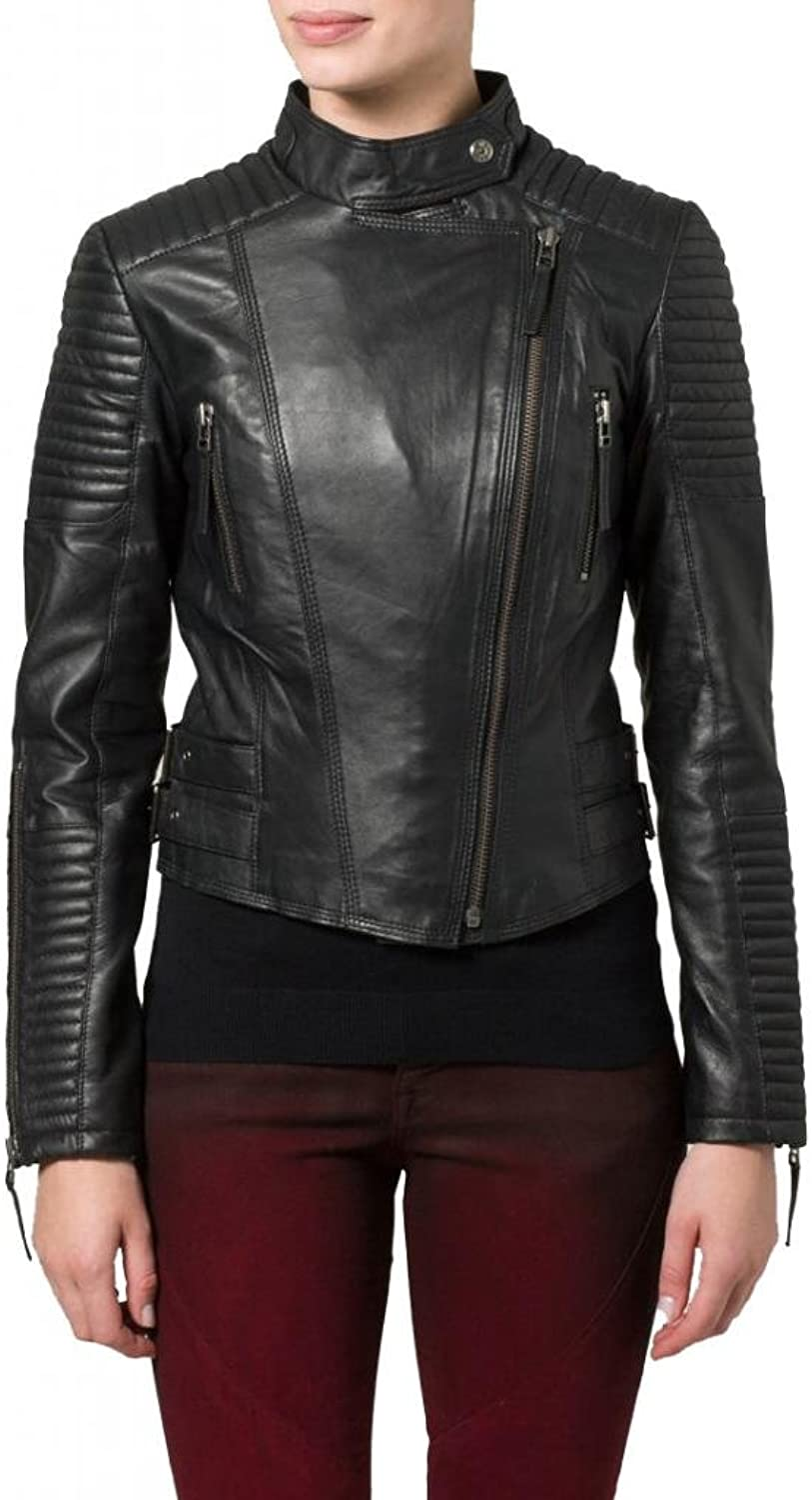 Leather Women's Lambskin Leather Bomber Biker Jacket W087