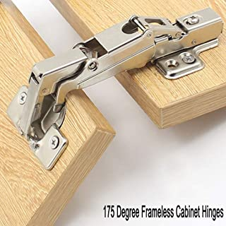 WOOCH 175 Degree Hinges Frameless Cabinet Hinges Hydraulic Adjustable Mounting Concealed Hinges Soft Closing Stainless Steel Buffer Dampers for Wardrobe,1 Pair (Full Overlay)
