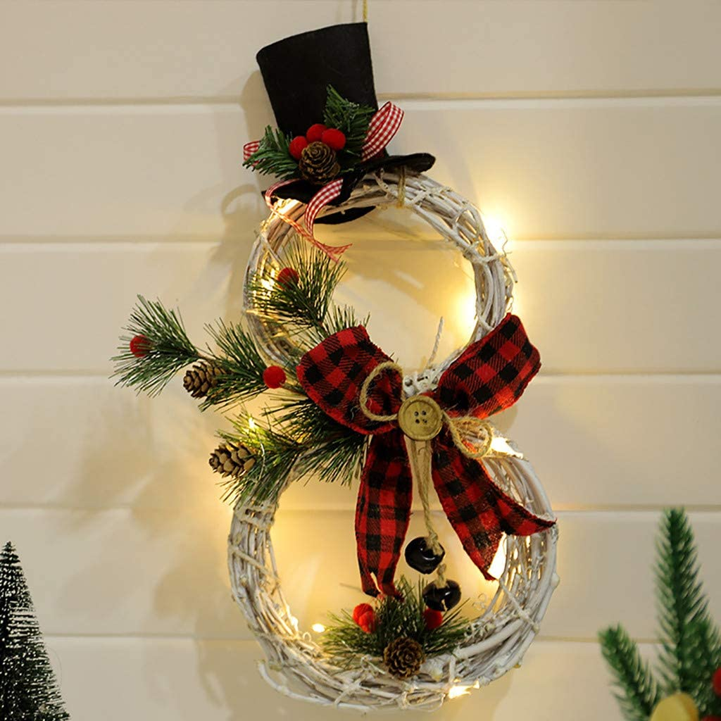 Christmas Wreath Hanging Decor With Led Light Remi Isle Fall Decorations Wreaths For Front Door Xmas Snowman Ornaments For Home Window Wall Indoor Outdoor A Arts Crafts Sewing