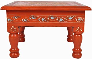 Lalhaveli Rajasthani Hand Pained Work Design Vintage Wooden Puja Chowki 9 X 9 X 5.5 Inches