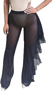 62fdc24816a06 Doqcey Women s Perspective Sheer Mesh Ruffle Pants Swimsuit Bikini Bottom Cover  up