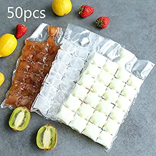 Wuyue Hua 50 Pcs disposable ice-making bags Ice Cube Tray Mold Makes Shot Glasses Ice Mould Novelty Gifts Ice Tray Summer Drinking Tool 1200cubes