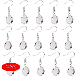 Forise 24pcs Silver Earrings Blank with Earring Hook and 12mm Cabochon Settings Tray Fit for DIY Jewelry Making Earring (Earring Findings)