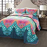 Lush Decor Boho Chic Reversible 3 Piece Quilt Bedding Set, Full/Queen, Turquoise/Navy