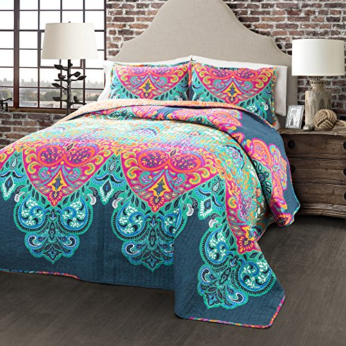 teal and coral quilt - 6