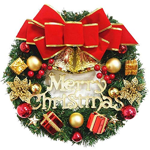 US Warehouse - Pendant & Drop Ornaments - Christmas Wreath with Battery Powered LED Light String Front Door Hanging Garland Holiday Home Decorations 30CM Window Decor - (Color: A, Size: S)