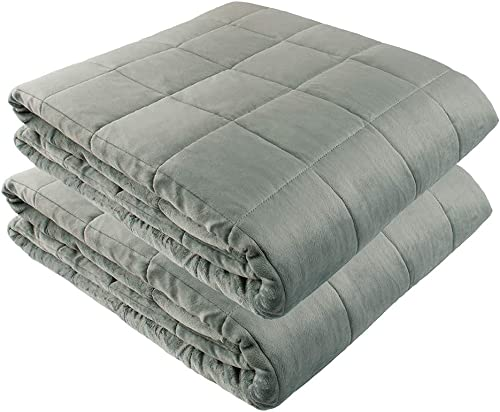 """Weighted Blankets - 80"""" X 87"""" - 20-lbs + 80"""" X 87"""" - 30-lbs - No Cover Required - Silky Minky Grey - Premium Glass Beads - Calming Stimulation Sensory Relaxation"""