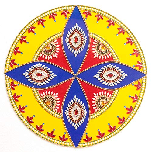 Ethnic Avenue Mandala Diwali Home Decor Accents - 12 Piece Handmade Coffee/Dining / Centre Table Top Decoration