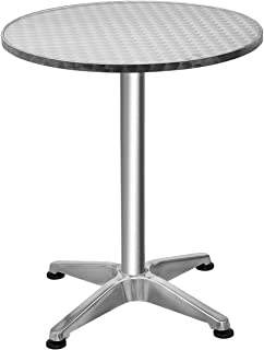 "Giantex 23.5"" Bistro Bar Table Aluminum Tabletop Indoor-Outdoor Bistro Pub W/X-Style Base for Pub Table/Cafe Table/Office Table/Conference Table, Silver (ɸ23.5"" x 27.5""H)"