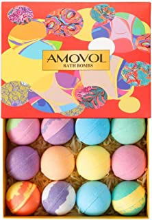 Bath Bombs Gift Set, 2.5 OZ Each Colorful Bath Bomb Kit with Essential oils, Lush Spa Floating Fizzies, Rich Bubbles, Powerful Moisturize and No Greasy, Best Gifts for Women & Kids Pack of 12