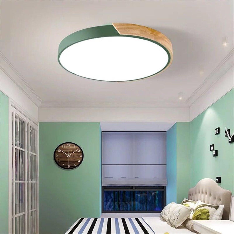 5151BuyWorld Lampe Einfache Runde Moderne Decke Mit Gummilampen Metallholz Acrylmaterial Bunte Deckenleuchten Geführte Decke Angebrachte Lampe Top Qualitt {Durchmesser 30 CM & Grün}