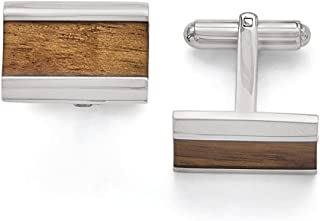 Lex & Lu Chisel Stainless Steel Polished Brown Wood Inlay Enameled Cuff Links