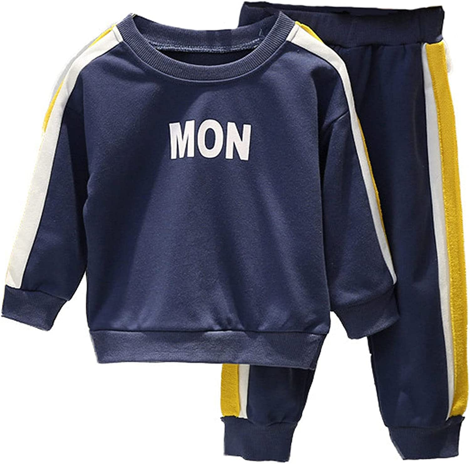 Boy's Long-Sleeved Sweater and Trousers Two-Piece Suit (Color-Blocking Design)
