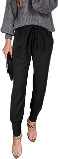 Women's Casual Pants High Waist Self Tie Pants Solid...