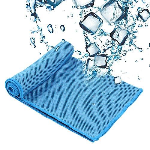 SZRWD Cooling Towel, 31 * 100 cm Cool Ice Handtuch/Weicher Cool Bambus Faser/Eiskaltes Handtuch/Kühlendes Halstuch für Reise, Camping, Golf, Wandernu, Sport im Freien-Blau