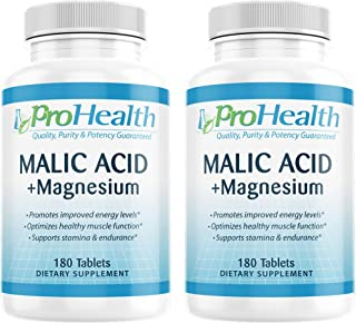 ProHealth Malic Acid + Magnesium 2-Pack (180 Tablets per Bottle) | Malic Acid with Magnesium | Essential for Muscle Relaxation | Malic Acid Promotes ATP | Promotes Proper Muscle Function