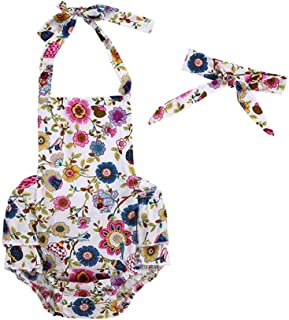 snowvirtuosau 2pcs/Set Cute Baby Girl Sling Rompers Headbands Infant Flower Print Clothes