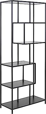 Marque Amazon - Movian Bibliothèque avec 4étagères en mélaminé et base en métal, 77x35x185cm, noir cendré
