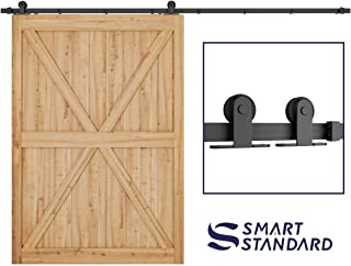 SMARTSTANDARD 10 FT Top Mount Sliding Barn Door Hardware Kit -Super Smoothly and Quietly -Easy to Install -Includes Step-by-Step Installation Instruction -Fit 60