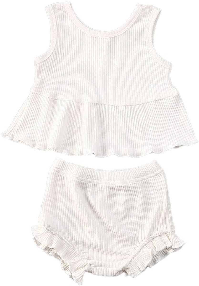 Madjtlqy Toddler Baby Girl Shorts Set Ruffle Sleeveless Top Short Pants 2pcs Summer Clothes Outfits