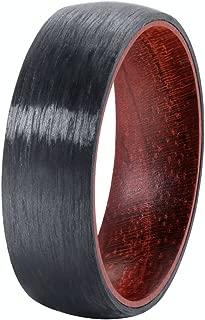 POYA 8mm Pure Black Carbon Fiber Ring Domed Wedding Band Rosewood Interior Comfort Fit