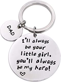 Drive Safe Keychains Dad We Love You Keychain for Trucker Dad Husband Boyfriend Valentines Day Gift (I'll Always Be Your Little Girl)