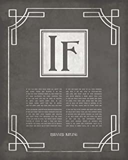 If by Rudyard Kipling - Ornamental Border Gray by Quote Master Art Print, 18 x 22 inches