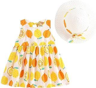 Vestidos sin Mangas para Niñas de Verano con Estampado de Frutas Frescas + Sombrero de Paja