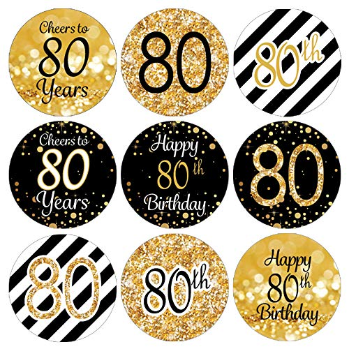 DISTINCTIVS 80th Birthday Party Favor Stickers - Gold and Black (Set of 324)