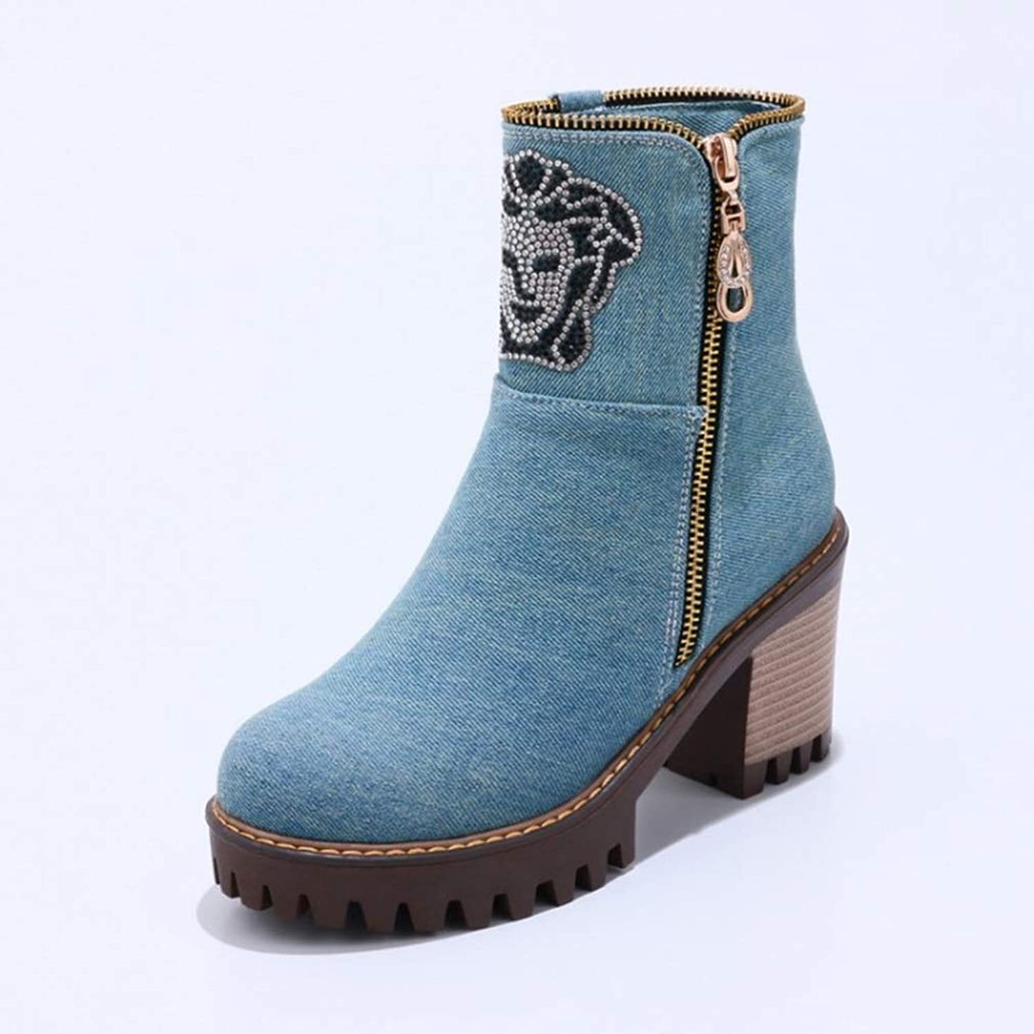 Women's Booties, Fall Winter Casual Round Head Cowboy Cloth Martin Boots Zipper High Thick Heel Ladies Fashion Boots (color   A, Size   37)