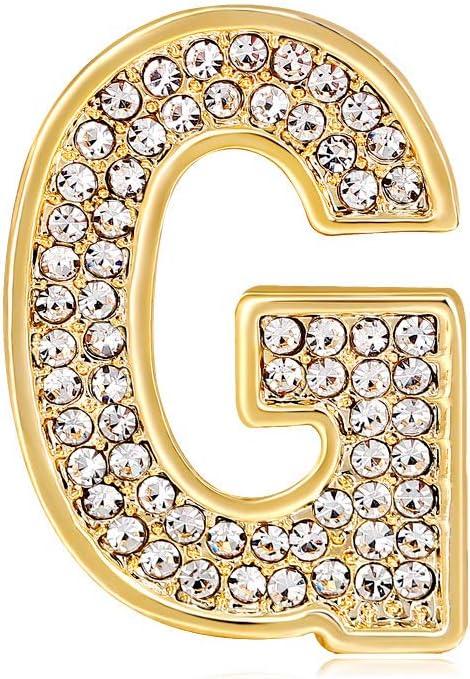 26 Initial Alphabet Letters Charms Monogram Enamel Lapel Badge Brooch Pin (G, Gold Tone)