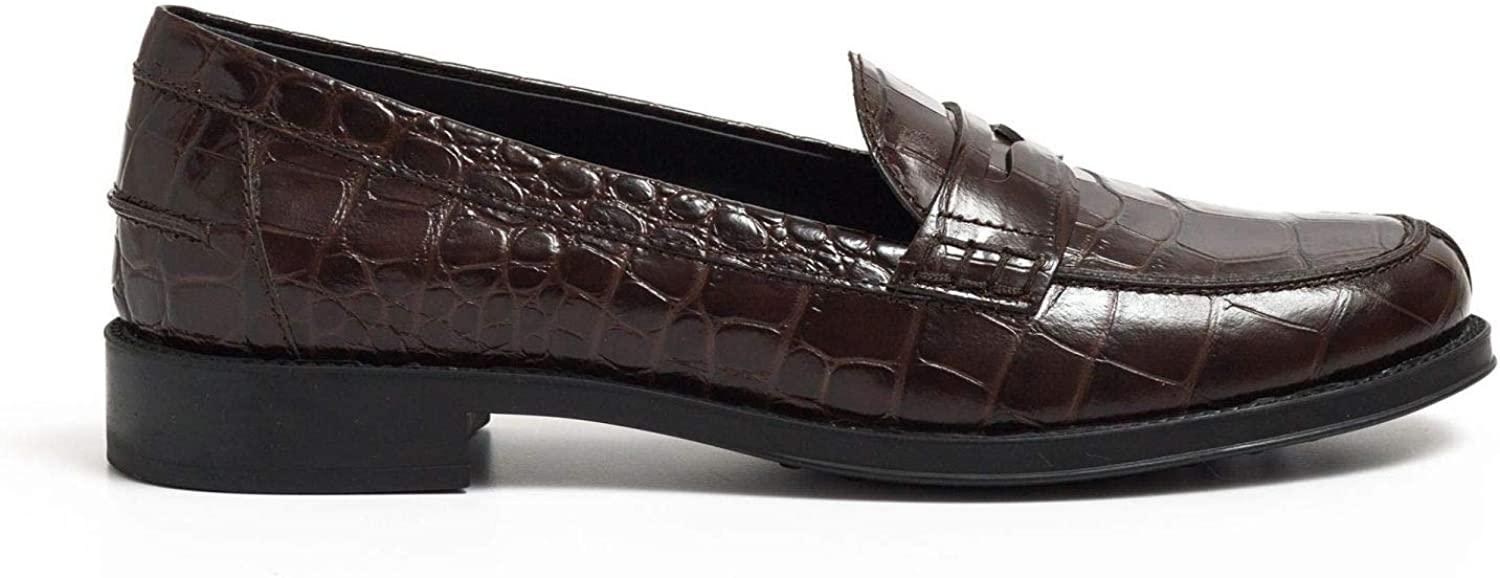 Tod's - Loafers in braun Crocodile Print Leather with Penny bar - XXW0RU0H500WENS611