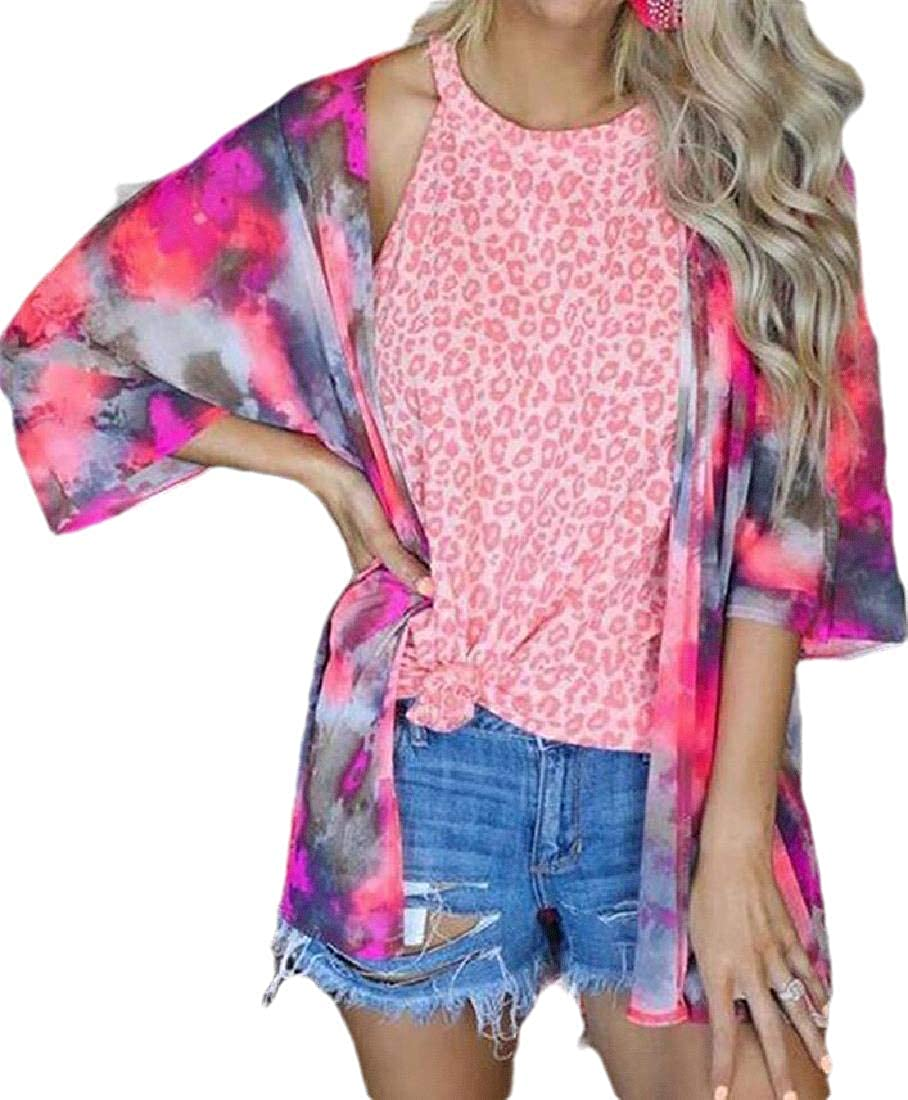 Womens New item Summer Print Long Sleeve Coa Open-Front Cardigan New Free Shipping Dyed Tie