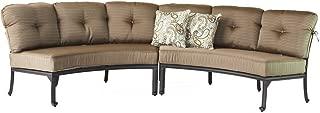 Elizabeth Cast Aluminum Powder Coated 2pc Curved Sofa Set - Includes Seat & Back Cushions - Antique Bronze Finish