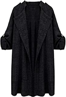 Howely Women Overcoat Cotton Blend Roll Sleeve Open Front Trench Cardigan