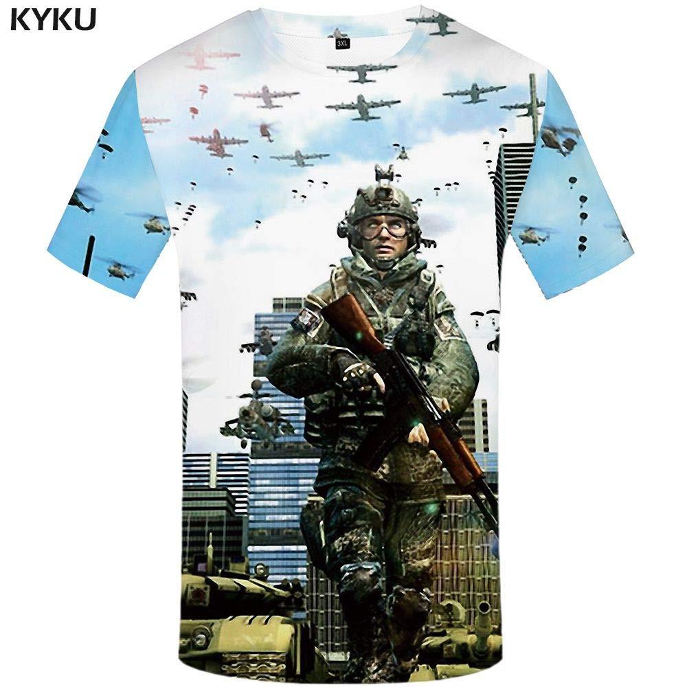 KYKU Marca de fábrica Camisetas Militares Hombres Camiseta de Guerra Carácter 3D Imprimir Camiseta sin Mangas Homme Rusia Camisetas Casual Manga Corta Gráfico: Amazon.es: Deportes y aire libre