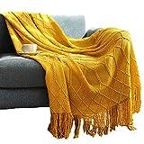 Superweiche Sofadecke, gestrickt, zweiseitig, Überwurf, Decke, Reise, Camping, Decke, passend für Couch, Sofa, Bett, nordische Wolle, Strickdecke, Sofadecke, 127 x 152 + 10 cm, Must-Gelb