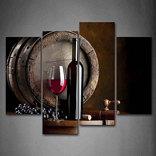 Wine And Fruit With Glass Barrel Wall Art Painting For Kitchen Pictures Print On Canvas