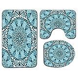 Alfombra de baño antideslizante de 3 piezas Juego de tapa de asiento de inodoro Alfombrilla de baño marroquí suave y antideslizante La arquitectura marroquí consta de mosaico y estrellas con diseño ge